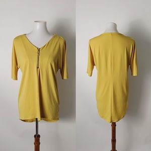 GRACE Zip Front Stretch Jersey Top Mustard